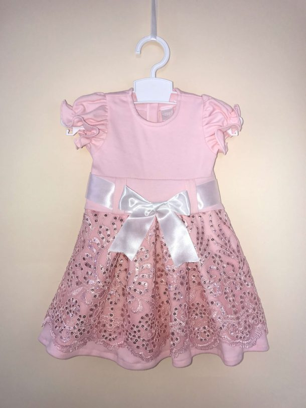 Szalagos pamut ruha rózsaszín