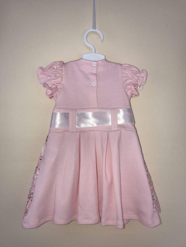 Szalagos pamut ruha rózsaszín háta
